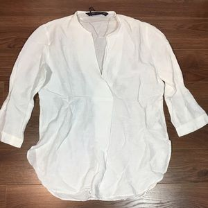 Zara White Linen Long Sleeve V-Neck Blouse